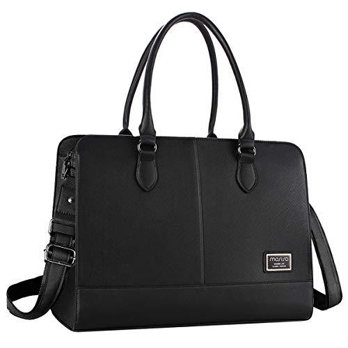 MOSISO Laptop Tote Bag für Frauen (Bis zu 15,6 Zoll), Premium PU Leder Große Kapazität mit 3 Schicht Fächern Business Work Reise Schultertasche Aktentasche Handtasche, Schwarz -