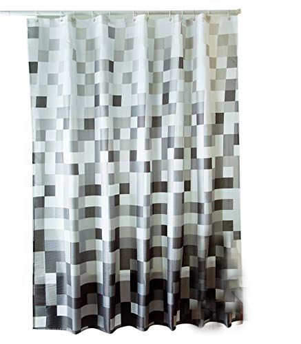 Sfoothome Gray Mosaic Shower Curtain,Waterproof Polyester Fabric Shower Curtain Liner, Bath Curtain For Bathroom With Heavy Weighted Hem,Size 180cm X 200cm
