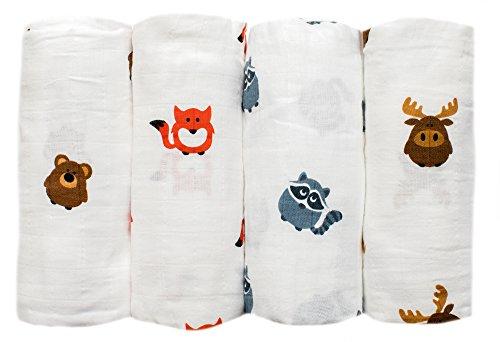 gris-abeja-4-unidades-tamano-grande-organica-muselina-bebe-de-panos-algodon-suave-blankets-animal-te