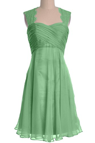 MACloth Women Lace Straps Chiffon Short Bridesmaid Dress Cocktail Formal Gown Menthe