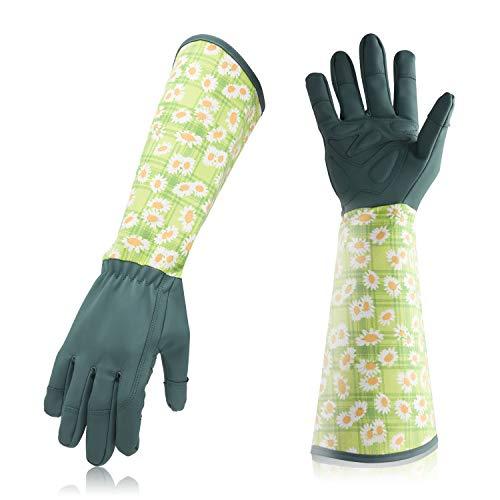 Professionelle Gartenhandschuhe aus Leder, Dornschutz, lange durchstichfeste Schutzhandschuhe aus Ziegenleder für Herren und Damen -