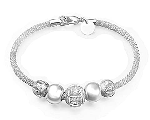 Hosaire 1X Fashion Crystal Charm Silver Network Flower Beads Bracelet Chain For Womens Girls Party Jewellery