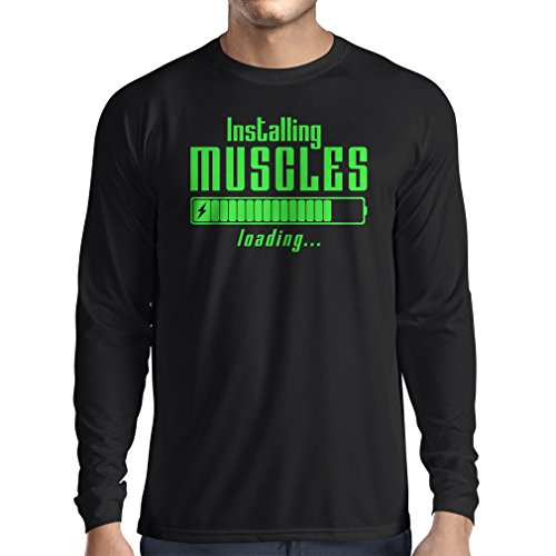 Camiseta de Manga Larga para Hombre Muscle Works Clothing - for Muscle Growth Masters, Vintage Design, Fitness Clothes (XXX-Large Negro Verde)