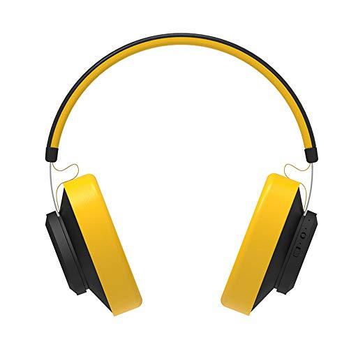 JAK0 Bluetooth Kopfhörer Über Ohr Mit Hallo-Fi Stereo Mic Drahtlosen Kopfhörern Mit Sprachsteuerung Bluetooth 5.0 Headset Für Telefone Und Musik, Reisen Und Arbeit,Gelb