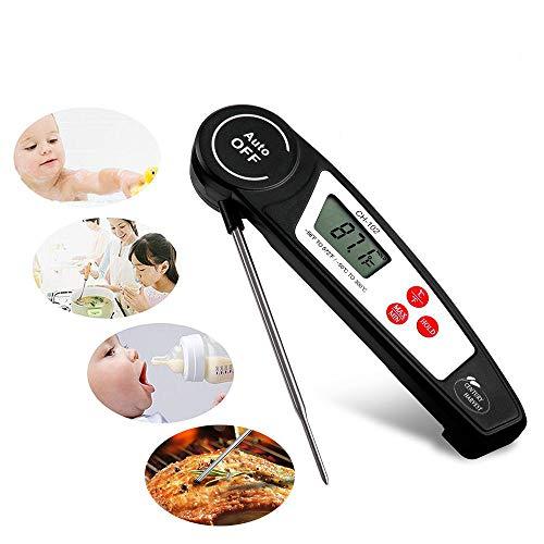 CHUDAN Digital Food Thermometer, Long Probe Fleischthermometer Küche Kochen, Grillen, Geflügel, BBQ, Faltbar, Schnell und Auto EIN/Aus, Batterie ausgenommen,Black -