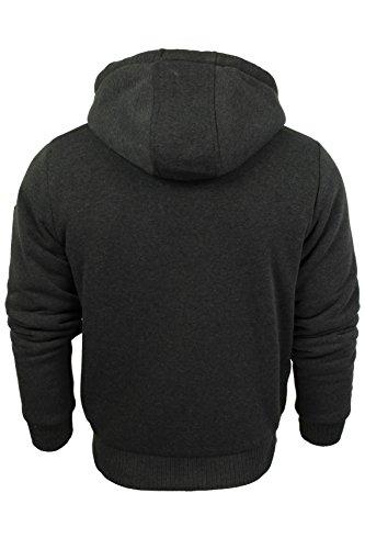 Smith & Jones Herren Sweatjacke mit Kunstpelzfutter Sweatshirt Hoodie Black Marl