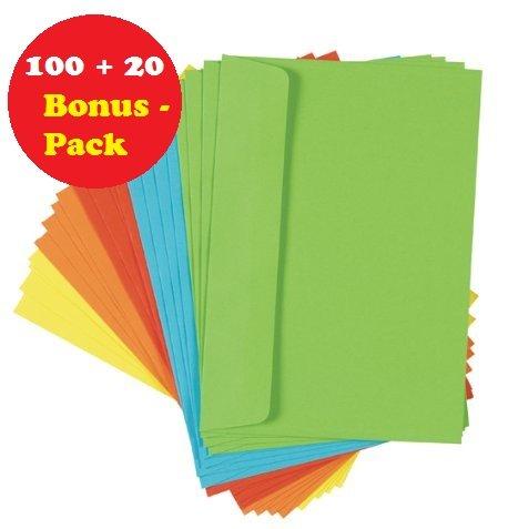 120 (6x 20) farbige Briefumschläge Din C6 bunte Kuvert (100 + 20 Stück C6 Bonuspack, sortiert) -