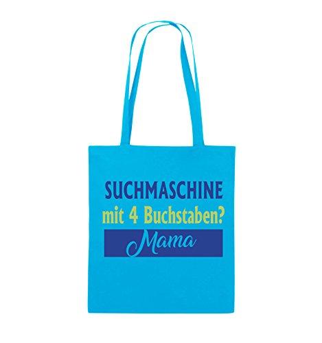 Comedy Bags - Suchmaschine mit 4 Buchstaben? Mama - Jutebeutel - lange Henkel - 38x42cm - Farbe: Schwarz / Weiss-Neongrün Hellblau / Hellgrün-Royalblau