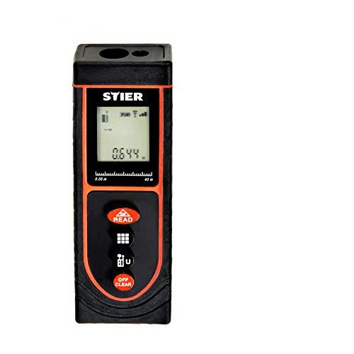 STIER Laser-Entfernungsmesser Basic+, 40 m Reichweite, Flächen- und Volumenberechnung, Staubschutz und Sprühschutz
