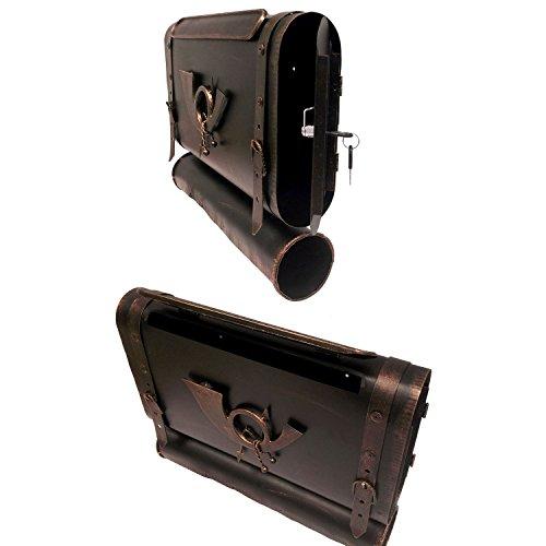 Briefkasten Wandbriefkasten Postkasten Mailbox Antik-Look Metall Posttasche mit Zeitungsrolle Zeitungsfach Zeitungsbox – Bronze - 2