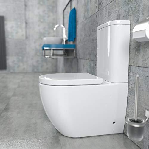 KERABAD Randlose Stand-WC Kombination mit Spülkasten WC-Sitz aus Duroplast mit Absenkautomatik SoftClose-Funktion für waagerechten und senkrechten Abgang Spülrandlos KB6089