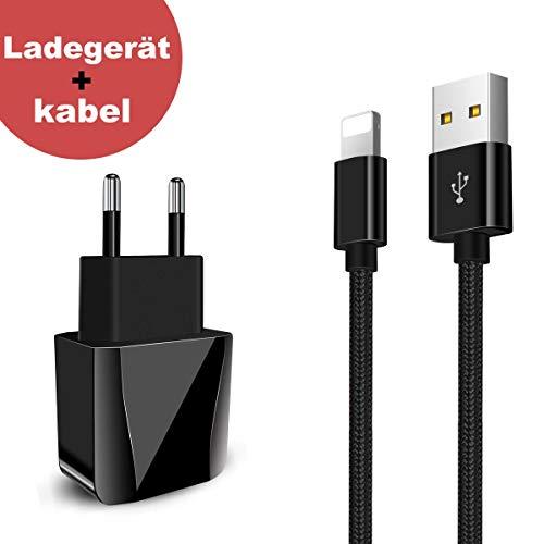 Phone Ladegerät + USB Lange Ladekabel 2 Port 2 Meter,BECASO Netzteil 2M Kabel für lPhone X 8 7 SE 6S 6 5 5C 5S Plus Pad Mini Air Pro Schwarz