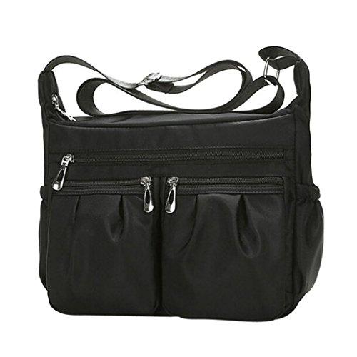 Crossbody Tasche, Huihong Damen Mode Einfarbig ReißVerschluss Wasserdichte Tasche Shopper Tasche Nylon UmhäNgetasche Hohe KapazitäT Tasche Schultasche Make-Up Tasche (Schwarz) (Gesteppte Wallet Clutch)