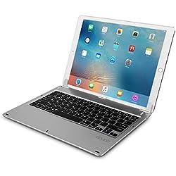 doupi Drahtlose Tastatur für iPad Pro 12,9 Zoll (2015/2017), Bluetooth Keyboard Multi-Funktion Taste aufstellbar klappbar wie EIN MacBook, Deutsch Layout, Silber