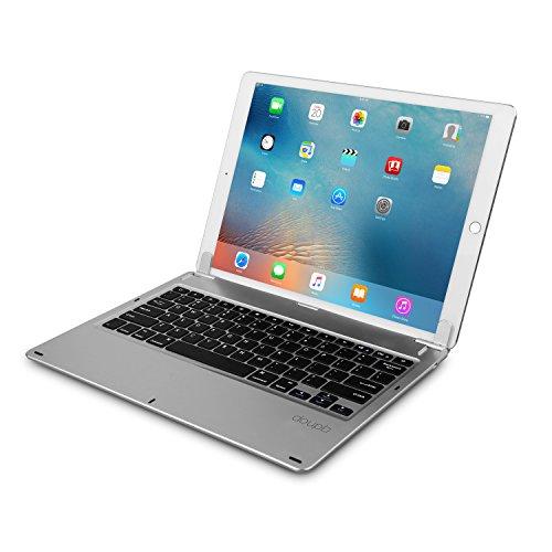 doupi Drahtlose Tastatur für iPad Pro 12,9 Zoll (2015 / 2017), Bluetooth Keyboard Multi-Funktion Taste mit verstellbarer Beleuchtung aufstellbar klappbar wie ein Macbook, Deutsch Layout, silber