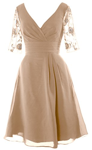 MACloth Women Half Sleeves V Neck Cocktail Dress Short Mother of the Bride Dress Champagner