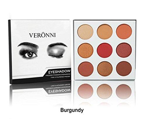 LONUPAZZ 9 Couleurs Palette de Fard à Paupière Waterproof Longue Durée Poudre Palette Maquillage Yeux Matte (B)