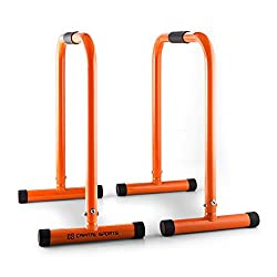 Capital Sports Alongs Parallettes Core Trainer Fitness (Equalizer, Stahlrohrgestell, Griffpolster, Tragfähigkeit 180 kg, platzssparend) orange