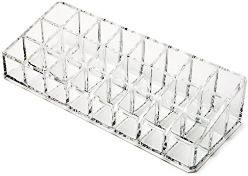 Inditradition Lipstick, Nail Polish Organizer - Acrylic Material, Transparent, 24 Holes