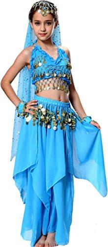 Leuchten Prinzessin Kostüm Blau (Fairytown Karneval Halloween Kinder Mädchen Bauchtanz Kostüm Anzug 152/164)