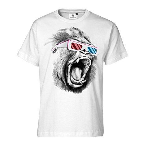 Bedrucktes Herren T-Shirt mit Motiv Shouting Gorilla (Hip Hop Old School Brille)