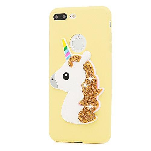 """MAXFE.CO Schutzhülle Tasche Case für iPhone 7 Plus 5.5"""" TPU Silikon Cover Einhorn mit Diamanten Etui Protective Schale Bumper Gelb + Dunkelblau Gelb + Dunkelblau"""