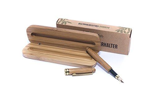 B-Ware - Bambus Füllfederhalter | Handgefertigter Füller zum Zeichnen und Schreiben | Füllfederhalter-Set mit Bambus Geschenk Etui | Für Tintenpatronen oder zum Nachfüllen | hochwertige Feder