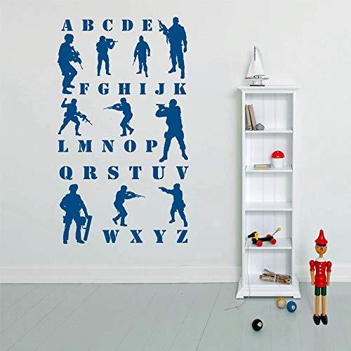 jiuyaomai Armee Spielzeugsoldaten ABC Alphabet Vinyl Wandaufkleber Für Kindergarten Kinderzimmer Jungen Decor Wandtattoos Schlafzimmer Home Poster rot 57X99 cm