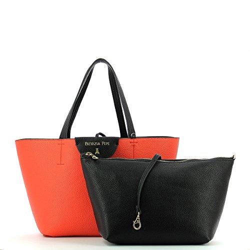 Patrizia Pepe shopping reversibile 2V5516 AV63 F1AV Matt Red/Dark Grey BLACK/ORANGE
