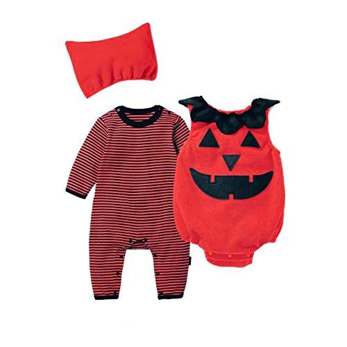 Uleade Kinder Kleinkind Baby Halloween Niedlichen Kürbis Fantastischen Kostüm Neugeborenen Spielanzug Bodysuit Outfits (3 Stück)