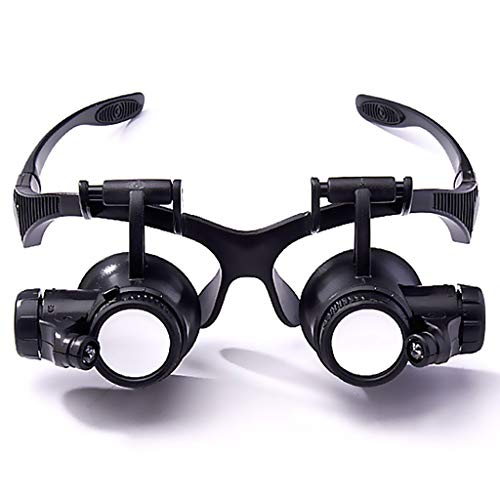 Multifunktions-Brille-Typ Lupe Reparatur mit Licht 20-Fach High-Definition-Brillen Lupe Nicht schwindlig Okulare Lupe