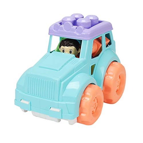 MMOOVV Kinder pädagogisches Spielzeug große Partikel Bausteine   DIY Montage Engineering Auto Modell Jungen und Mädchen Spielzeug Geschenke 24.5x17x17.5cm (Blau) (Cd Player Lila Mädchen)