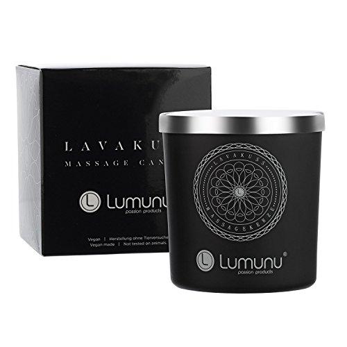 Deluxe Aroma Massagekerze Lavakuss aus natürlichen Soja & Kokosölen für Paarmassagen (150g)