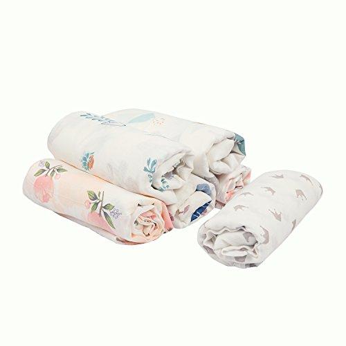 Baby Extra Weich Wickeltuch aus Musselin,–Eco 70% Bambus 30% Baumwolle, 1Pack, 120x 120cm