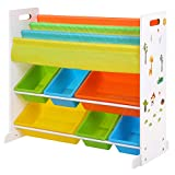 SONGMICS Wooden Book Storage Rack Toy Boxes and Storage Unit with Anti-toppling Device 2-Tier Toy Shelf + 3-Tier Bookshelf GKR03W