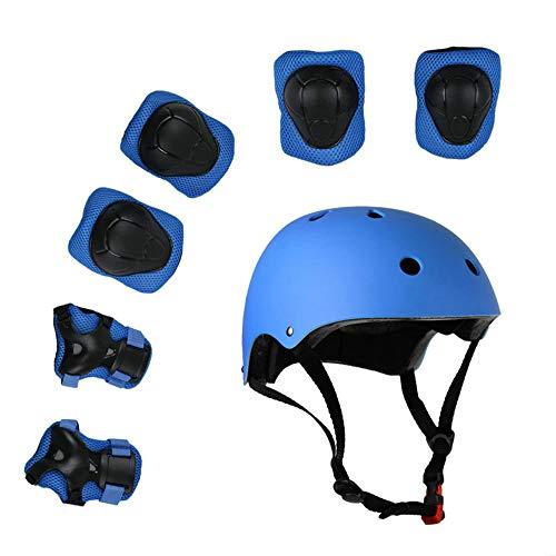 Lucky-M Kinder Schutzausrüstung Set Jungen Mädchen Fahrradhelm Sicherheit Pads Set für Roller Roller Skateboard Fahrrad (3-8 Jahre alt)(Blau)
