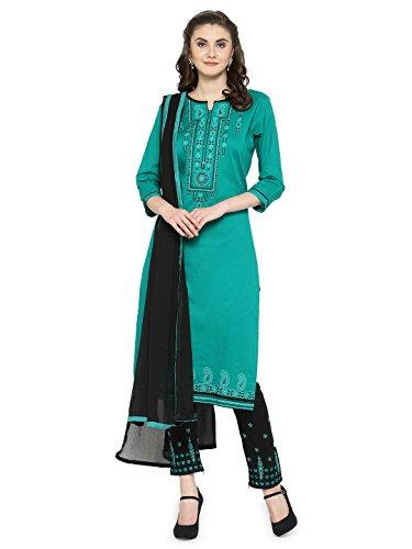 Kvsfab Women's Teal & Black Unstitched Salwar Kameez Material [KVSSK10068SDRS_3]