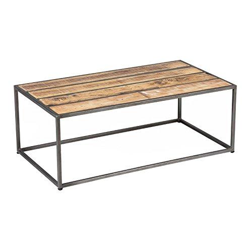 Tousmesmeubles Table Basse Métal/Bois - Knox - L 110 x l 60 x H 40 - Neuf
