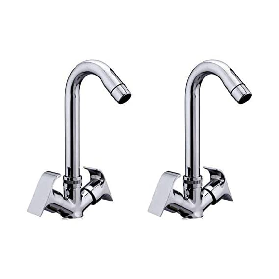 Drizzle Basin Mixer Swift Brass Chrome Plated/Centre Hole Basin Mixer/Pillar Cock Tap/Water Mixer Tap For Wash Basin/Bathroom Tap/Quarter Turn Foam Flow Tap - Set of 2