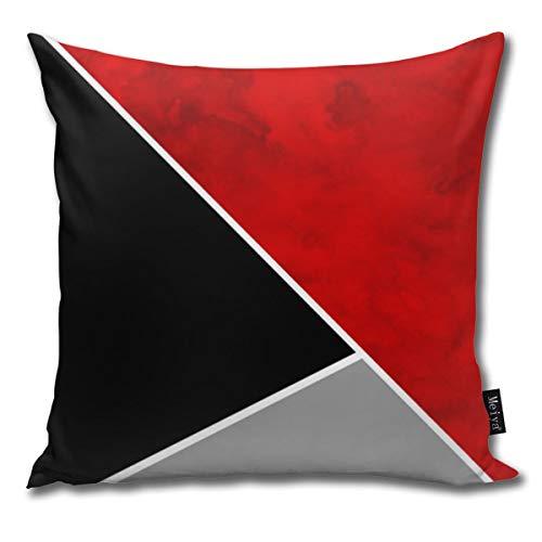 Dutars - Funda de cojín Cuadrada, Color Rojo, Gris y Negro, 45 x 45 cm