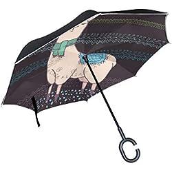 Paraguas resistente, plegable e invertido de llama.