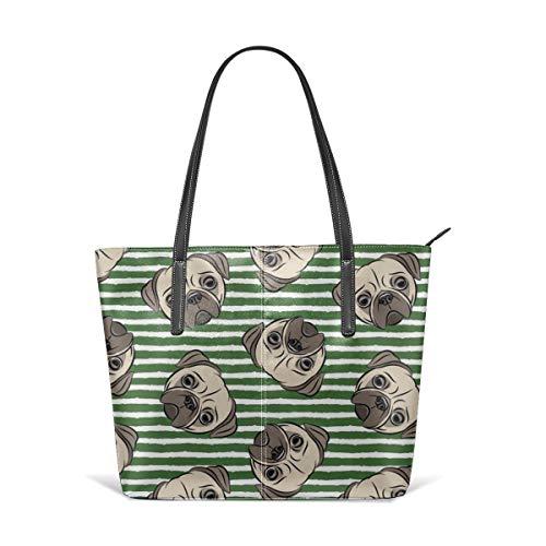 Frauen weiches Leder Tote Umhängetasche Möpse auf Pine Green Stripes Mops Cute Dog Face Fashion Handtaschen Satchel Geldbörse - Stripe Zip Satchel