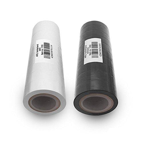 Isolierband 18mm 10x weiss 10 x schwarz 10m je Rolle Klebeband Isolier band Isoband Universal selbstklebendes Klebe Band zum isolieren reparieren elektrischer Leitungen installation kfz ARLI