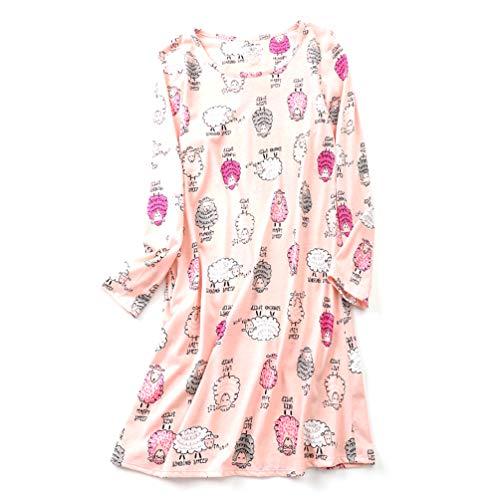 ENJOYNIGHT Damen Nachtwäsche Baumwolle Langarm Nachthemd Print Tee Schlaf Kleid - - Small -