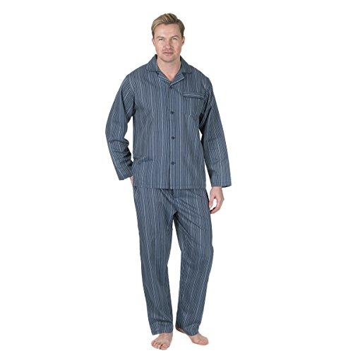 Satin Striped Button (Herren Nachtwäsche, Design Woven Poplin Pyjamas, PolyCotton. Gestreift (Striped), Klein (S))
