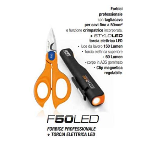HT F50LED Kit Forbice Professionale Crimpatrice F50 + Torcia Styloled elettrica 150 Lumen HU000746