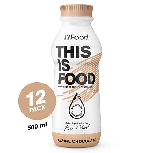 YFood Schokolade | Laktose- und glutenfreier Nahrungsersatz | 33g Protein, 26 Vitamine und Mineralstoffe | Leckere Astronautennahrung - 25% des Kalorienbedarfs | Trinkmahlzeit, 12 x 500 ml (1 kcal/ml)