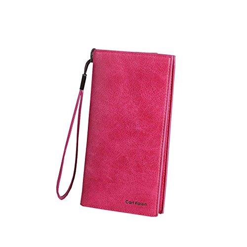 Longra Donna Sacchetto del sacchetto del sacchetto del raccoglitore della chiusura lampo del telefono mobile di grande capacità (Rosa Caldo)