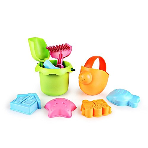 SainSmart Jr. Sandspielzeug Sandspielset Meerestiere Modell 8 er Set , Kinder Eimer mit 4 Sandförmchen