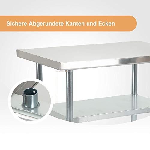SUNCOO Zubereitungstisch Edelstahl-Tisch Arbeitstisch Küche Tisch mit Einstellbarer Großer Ablagefläche Küche-,Restaurant-, und Arbeitsvorbereitungstisch 91,5 * 61 * 90 cm (L